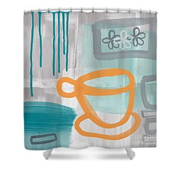 Cup Of Happiness Shower Curtain by Linda Woods