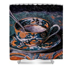 Cup Of Tea And Sugar Cubes Shower Curtain by Amy Fearn