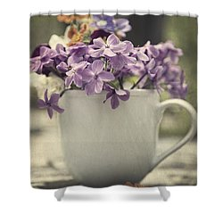 Cup Of Wildflowers Shower Curtain by Edward Fielding