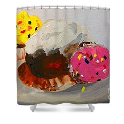 Cupcakes Shower Curtain by Marisela Mungia