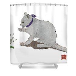 Cat Art Hand-torn Newspaper Painting  Shower Curtain by Keiko Suzuki
