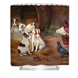 Shower Curtain featuring the painting Curious Friends by Hazel Holland