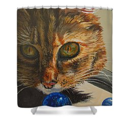 Shower Curtain featuring the painting Curious by Karen Ilari