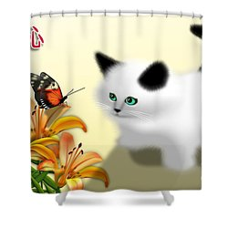 Curious Kitty And Butterfly Shower Curtain