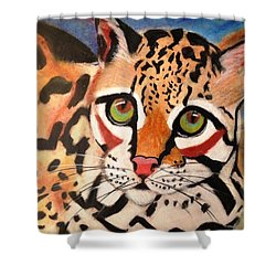 Curious Ocelot Shower Curtain by Renee Michelle Wenker