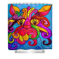 Shower Curtain featuring the painting Curly Cat Love by Eloise Schneider