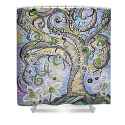Shower Curtain featuring the painting Curly Tree In Fantasy Land by Eloise Schneider