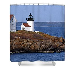 Curtis Island Lighthouse Shower Curtain by Skip Willits