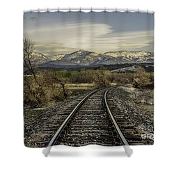 Shower Curtain featuring the photograph Curve In The Tracks by Sue Smith