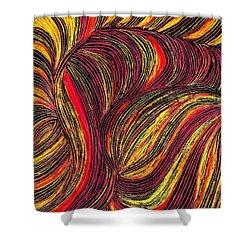 Curved Lines 3 Shower Curtain by Sarah Loft
