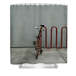 Curved Rack In Red - Urban Parking Stalls Shower Curtain
