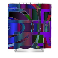Shower Curtain featuring the digital art Curves And Trapezoids 2 by Judi Suni Hall