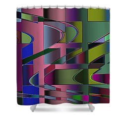 Shower Curtain featuring the digital art Curves And Trapezoids 3 by Judi Suni Hall