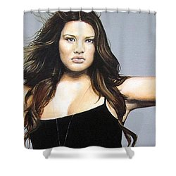 Shower Curtain featuring the painting Curvy Beauties - Tara Lynn by Malinda  Prudhomme