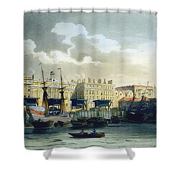 Custom House From The River Thames Shower Curtain by T. & Pugin, A.C. Rowlandson