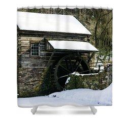 Shower Curtain featuring the photograph Cuttalossa Farm In Winter by Debra Fedchin