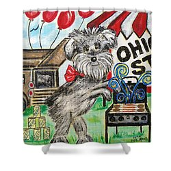 Osu Tailgating Dog Shower Curtain by Diane Pape