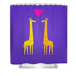 Cute Cartoon Giraffe Couple In Love Purple Edition Shower Curtain by Philipp Rietz