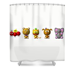Cute Critters With Heart A To E Shower Curtain by Rose Santuci-Sofranko
