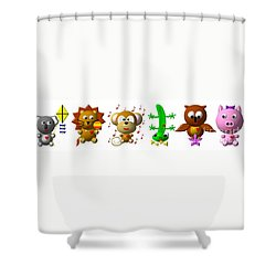 Cute Critters With Heart K To P Shower Curtain by Rose Santuci-Sofranko