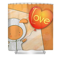 Cute Lots Of Love Love You Cute Character Holding A Love Balloons  Shower Curtain