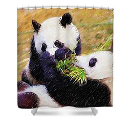 Cute Pandas Play Together Shower Curtain by Lanjee Chee