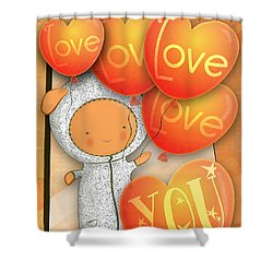 Cute Teddy With Lots Of Love Balloons Shower Curtain