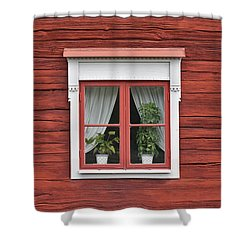 Cute Window On Red Wall Shower Curtain
