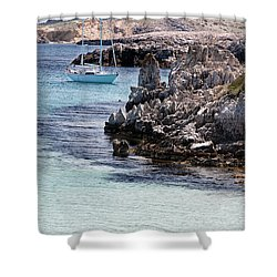 In Cala Pudent Menorca The Cutting Rocks In Contrast With Turquoise Sea Show Us An Awsome Place Shower Curtain