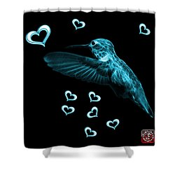 Shower Curtain featuring the digital art Cyan Hummingbird - 2055 F M by James Ahn