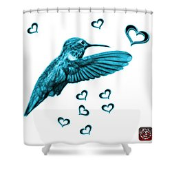 Shower Curtain featuring the digital art Cyan Hummingbird - 2055 F S M by James Ahn