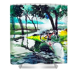 Cycle In The Puddle Shower Curtain by Anil Nene