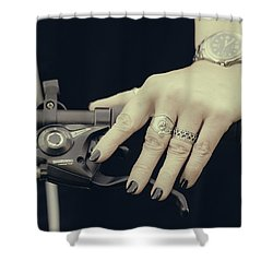 Shower Curtain featuring the photograph Cycling Lady by Ari Salmela