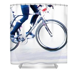 Cycling Shower Curtain by Theresa Tahara