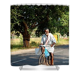 Shower Curtain featuring the photograph Cycling Villager by Mini Arora