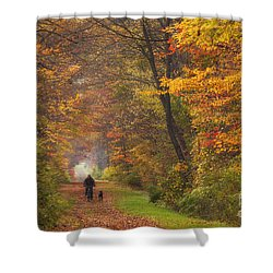 Cyclist And Dog Shower Curtain