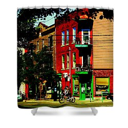 Cyclists Crossing Rue Clark Corner Wilensky Spring Street Scene Montreal Art Carole Spandau Shower Curtain by Carole Spandau