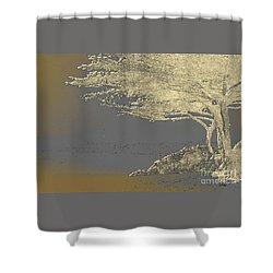 Cypress Tree On Beach Shower Curtain by Linda  Parker