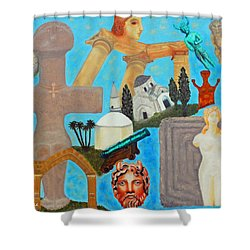 Cyprus History Shower Curtain by Augusta Stylianou