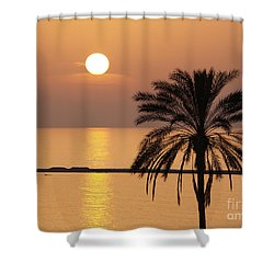 Cyprus Sunset Shower Curtain by Alex Cassels