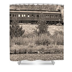 Cyrus K  Holliday Private Rail Car Bw Sepia Shower Curtain by James BO  Insogna