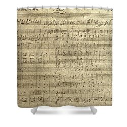 Czech Republic Prague Symphony No. 38 In D Major Called Prague Symphony Shower Curtain by Wolfgang Amadeus Mozart