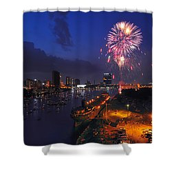 D12u470 Red White And Kaboom In Toledo Ohio Photo Shower Curtain