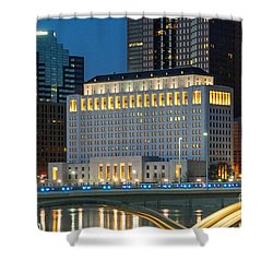 D2l496 Columbus Ohio Night Skyline  Shower Curtain