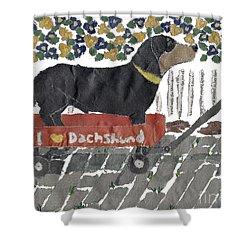 Dachshund Art Hand-torn Newspaper Collage Art Shower Curtain by Keiko Suzuki