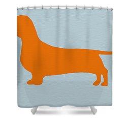 Dachshund Orange Shower Curtain by Naxart Studio