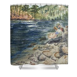 Dad And Son Gearing Up Shower Curtain