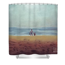 Daddy At The Beach Shower Curtain by Samantha Geernaert