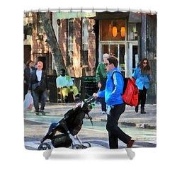 Daddy Pushing Stroller Greenwich Village Shower Curtain by Susan Savad