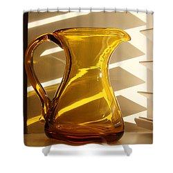 Dad's Amber Pitcher By Blenko Glass Shower Curtain by Karen Adams
